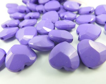 10 pcs 13 mm x 13 mm Heart Smooth  Beads ,  Plastic  Beads ,Charms of Necklace ,  Lucite Beads