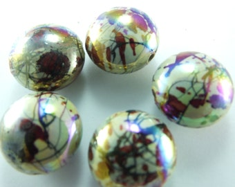 5 pcs Round Plastic Beads ,21mmx17mm  Lucite Beads...Findings...Jewelry Making Bracelet Beads...Pendant