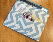 Blue and Cream Chevron Magazine and Tract Bag, Tablet Sleeve, With Contact Card Pocket