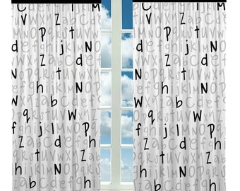 custom window curtain alphabet design any size any 3 colors from selector or