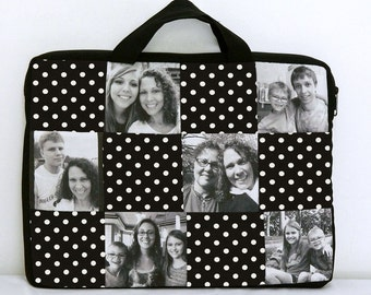 Laptop Sleeve Bag Photo Patchwork Personalized Gift sizes 11 to 15 in your choice of fabric