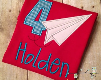 Applique Paper Airplane Birthday Shirt - Personalized