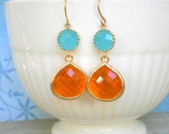 Aqua Blue Earrings, Tangerine Earrings, Gold Earrings, Statement Earrings, Gift for Her