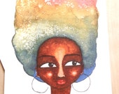 African American 'Multicoloured Afro' Greeting Card