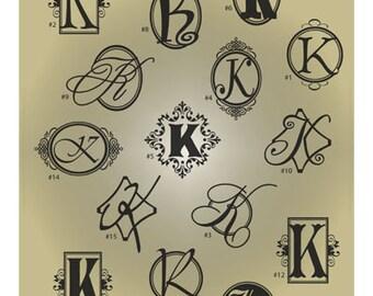 Monogram Letter K SVG Files - Ai Svg Eps Gsd - Cuttable SVG Monogram K - Monogram Vector File for Vinyl Cutters - Monogram Digital Cut File