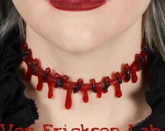 Dripping Dark Blood Stitch Necklace Choker  -Creepy Cute