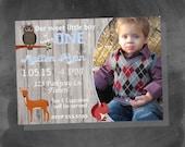 Digital Woodland Animals Shabby Chic Onederland Birthday Boy Party Invitation Personalized Printable