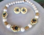 Vintage Porcelain blue floral Beaded necklace earring set