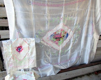 VTG Oriental Asian WWII Era satin Coverlet BEDSPREAD with shams Embroidery