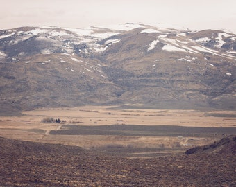 Desert Farm - Brown Beige Neutral Western Landscape Home Decor Photography Print