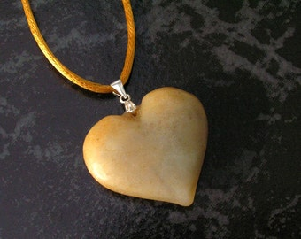Old Jade Nephrite Heart Pendant Necklace with Sterling Silver Clam Shell Bail on Copper Orange Satin Cord