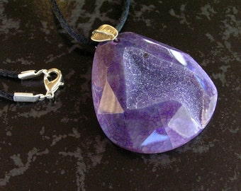 Purple Faceted Dragon Vein Druzy Agate Geode Pendant Necklace with Sterling Silver Leaf Bail on Black Satin Cord