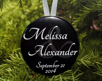 First Christmas Wedding Date Ornament - Simple Names - customized with names and date - C12