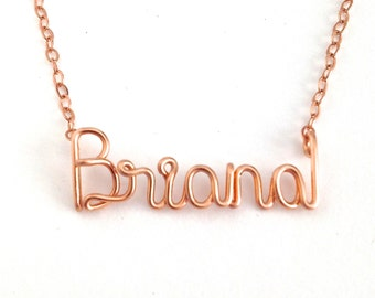 Rose Gold Name Necklace. Personalized 14k Rose Gold Filled Custom Name Necklace