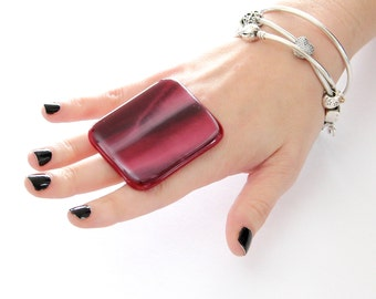 Marbled Cocktail Ring Handmade Glass  -  adjustable ring, fashion ring,  large statement ring  - BOLDER THAN BOLD - 2.4 inch