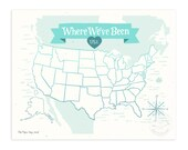 Where We've Been: USA Map, Icy Blue Illustrated Art Print