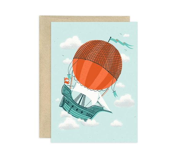 Hot Air Ship Illustrated Greeting Card