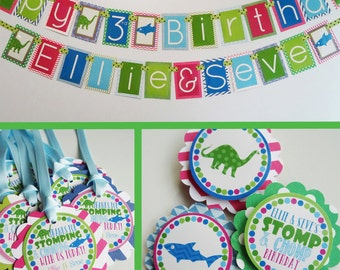 Green Blue Dinosaur Shark Birthday Party Decorations Package Fully Assembled