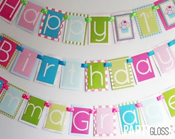 Girly Cupcake Birthday Party Banner Decorations Fully Assembled