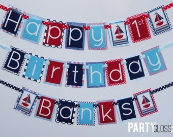 Nautical Birthday Party Banner Decorations Fully Assembled