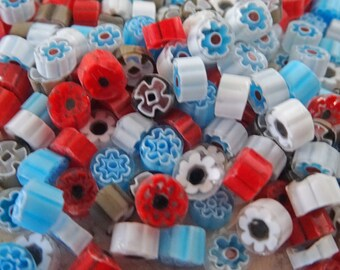 Millefiori Murrine, 1 Oz, Red White Blue Taupe, 28 grams, coe 104,  Lampwork, Mosaic, Fusing