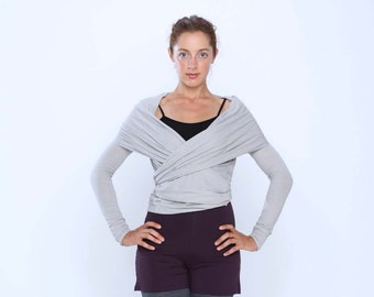 On sale 50%! Multi tie wrap sweater - Yoga clothes - active wear - dance wear - yoga top - cardigan. Stone Size ML