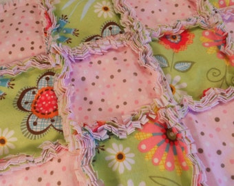 "Rag Quilt Security Blanket...In Pink Polka Dots and Flowers...The perfect ""Blankie"" for your Little One"