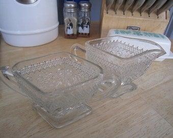 Indiana Glass Co. Sandwich Pattern Sugar & Creamer