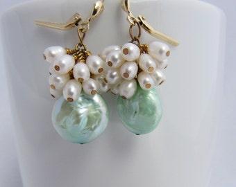 Mint Green Coin Pearl & White Freshwater Pearl Fringe Earrings