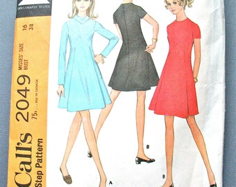 Vintage 60s  McCalls 2049 Vintage Dress Sewing Pattern   Bust 38 inches