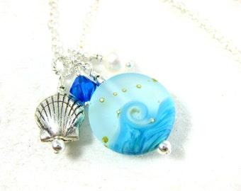 Blue Ocean Necklace, Beach Necklace, Wave Lampwork Necklace, Seashell Necklace, Charm Necklace Turquoise Blue Water Necklace Tranquil Waters