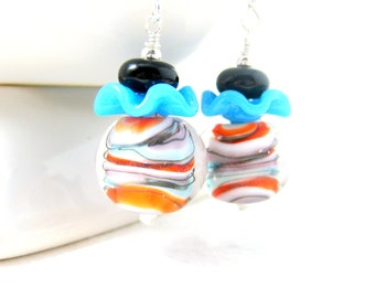 Ruffle Earrings, Orange Blue Black Glass Earrings, Lampwork Earrings, Playful Earrings, Funky Earrings, Fun Earrings, Whimsical Jewelry