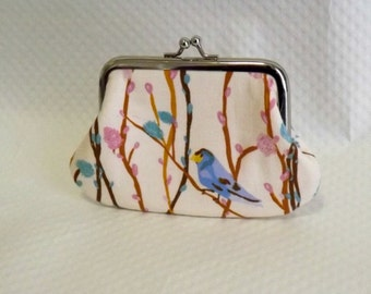 Coin purse - Change Purse - Blue Bird Coin Purse -Bird Change Purse - Cotton Coin Purse
