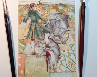 The Rats of Brobdingnag - Gulliver's Travels - Original Watercolor, Fairy Tale, Illustration, 5x7