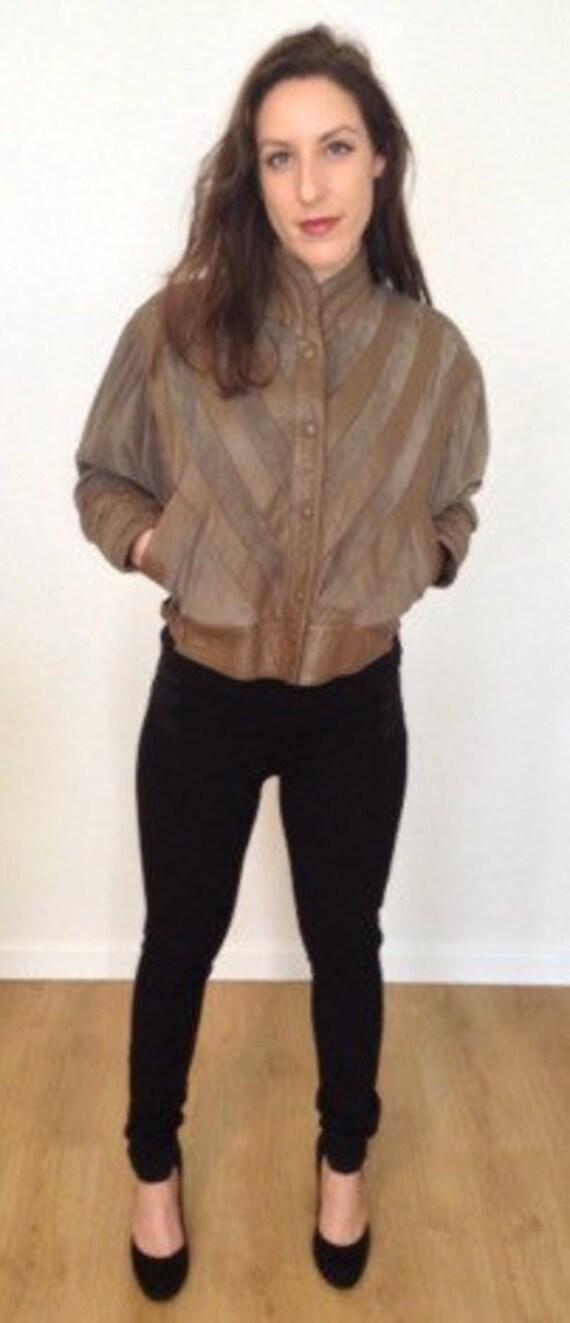 Veste vintage des ann es 80 en cuir marron et su dine verte manches chauve souris medium m - Veste annee 80 ...