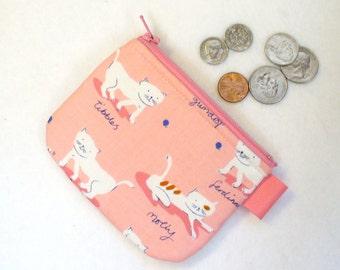 Cute Kitty Cats Mini Coin Purse Fabric Change Purse Little Zipper Coin Purse Aneela Hooey Hello Petal White Kittens Pink Handmade