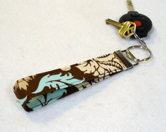 Wristlet Key Fob Joel Dewberry Fabric Keyring Keychain Aviary Damask Chocolate Brown Aqua Handmade MTO