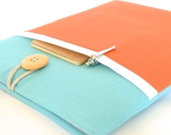 "Color Block MacBook Air 13 inch Case New MacBook 12"" Laptop Sleeve Case with Pocket Padded - Aqua + Orange"