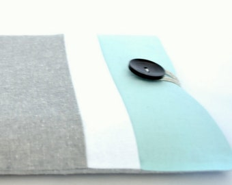 iPad Sleeve, iPad Air Case, Fire HD, iPad Air 2, iPad Mini 3 Cover Padded with Pocket - Gray and Aqua Color Block
