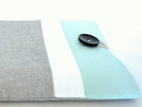 iPad Sleeve, iPad Air Case, Fire HD, iPad Air 2, iPad Mini 3 Cover Padded with Pocket - Gray and Aqua Color Block