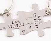 Anniversary Date Keychains   Puzzle Piece Key Chains   Hand Stamped Couples Gift   2 Keyrings   Anniversary Gift   Boyfriend Girlfriend Gift