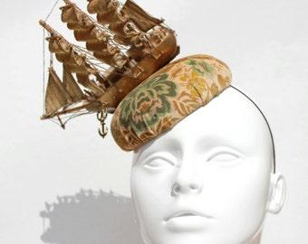 Marie Antoinette Ship boat hat fascinator velvet damask fabric