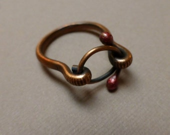 Copper Ring. Metalwork Ring. Circles of Love Ring. Masculine Ring. Handmade Jewelry. Size 9.5.