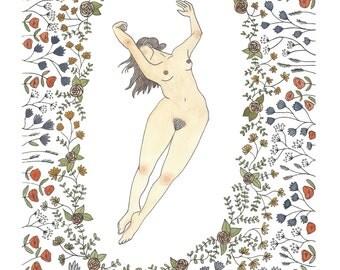 Eve in the Garden   Digital Print from Original Illustration
