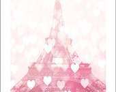 Pink Baby Girl Nursery Decor, Paris Photography, Eiffel Tower Valentines Hearts, Eiffel Tower Pink Print, Paris In Love, Eiffel Tower Print