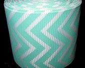 5 yards White & Light Aqua Skinny Chevron1.5 inch width Grosgrain Ribbon Roll 1 1/2