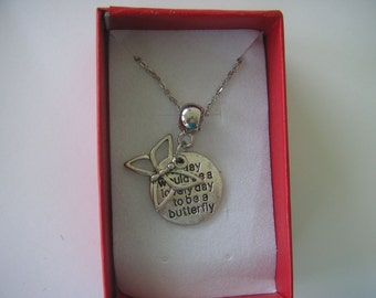 Necklace, Butterfly, pewter charm, pendant, Lovely Day, Stainless Steel Chain, 20""
