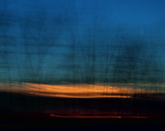 "Abstract landscape photography forest trees surreal sunset dark blue black gold - ""Glow"" 8 x 10"
