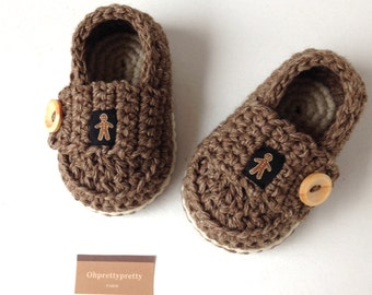 Baby booties crochet loafers light brown and ivory size 3/6 months ready to ship with giftbox