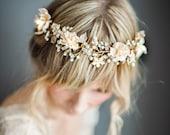 Boho Gold Halo Hair Crown, Gold Hair Wreath, Silver forehead band, Gold Wedding Flower Hair Vine, Boho Wedding Headpiece - 'VALENTINA'
